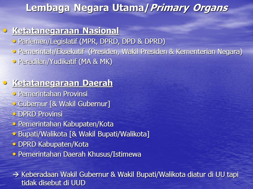 Lembaga Negara Utama/Primary Organs Ketatanegaraan Nasional Ketatanegaraan Nasional Parlemen/Legislatif (MPR, DPRD, DPD & DPRD) Parlemen/Legislatif (M