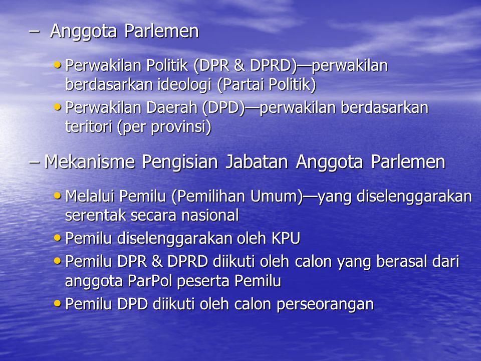 – Anggota Parlemen Perwakilan Politik (DPR & DPRD)—perwakilan berdasarkan ideologi (Partai Politik) Perwakilan Politik (DPR & DPRD)—perwakilan berdasa