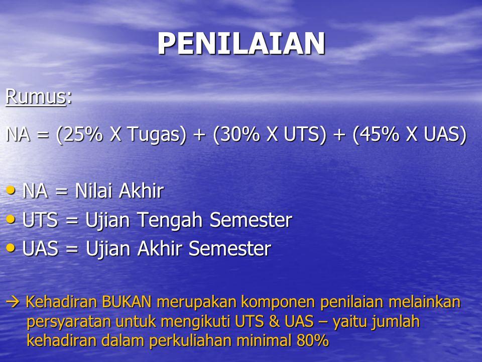 PENILAIAN Rumus: NA = (25% X Tugas) + (30% X UTS) + (45% X UAS) NA = Nilai Akhir NA = Nilai Akhir UTS = Ujian Tengah Semester UTS = Ujian Tengah Semester UAS = Ujian Akhir Semester UAS = Ujian Akhir Semester  Kehadiran BUKAN merupakan komponen penilaian melainkan persyaratan untuk mengikuti UTS & UAS – yaitu jumlah kehadiran dalam perkuliahan minimal 80%