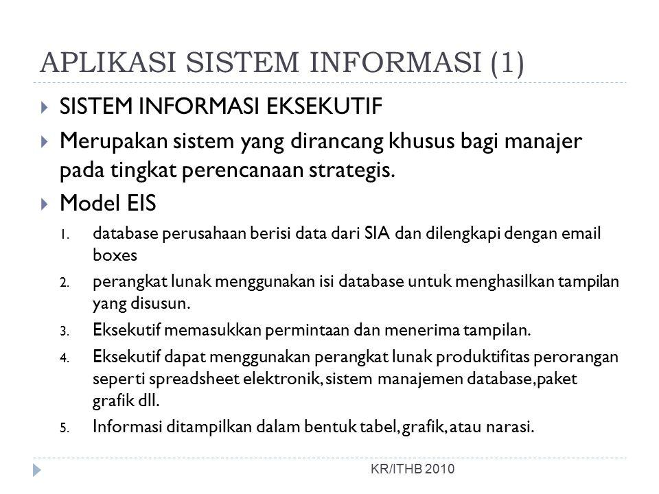 APLIKASI SISTEM INFORMASI (1)  SISTEM INFORMASI EKSEKUTIF  Merupakan sistem yang dirancang khusus bagi manajer pada tingkat perencanaan strategis.