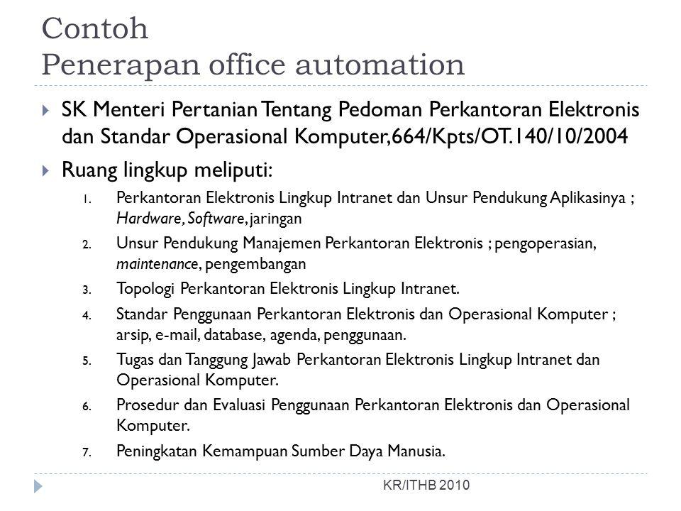 Contoh Penerapan office automation  SK Menteri Pertanian Tentang Pedoman Perkantoran Elektronis dan Standar Operasional Komputer,664/Kpts/OT.140/10/2004  Ruang lingkup meliputi: 1.