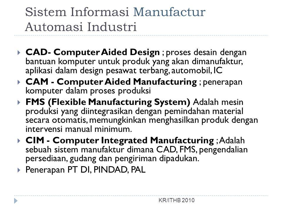 Sistem Informasi Manufactur Automasi Industri KR/ITHB 2010  CAD- Computer Aided Design ; proses desain dengan bantuan komputer untuk produk yang akan