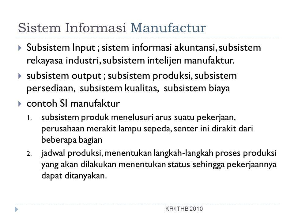Sistem Informasi Manufactur  Subsistem Input ; sistem informasi akuntansi, subsistem rekayasa industri, subsistem intelijen manufaktur.