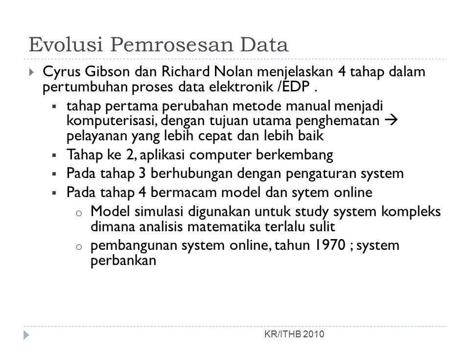 Evolusi Pemrosesan Data KR/ITHB 2010  Cyrus Gibson dan Richard Nolan menjelaskan 4 tahap dalam pertumbuhan proses data elektronik /EDP.  tahap perta