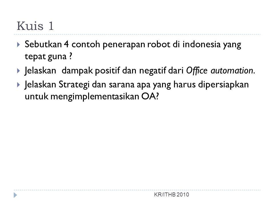Kuis 1  Sebutkan 4 contoh penerapan robot di indonesia yang tepat guna ?  Jelaskan dampak positif dan negatif dari Office automation.  Jelaskan Str