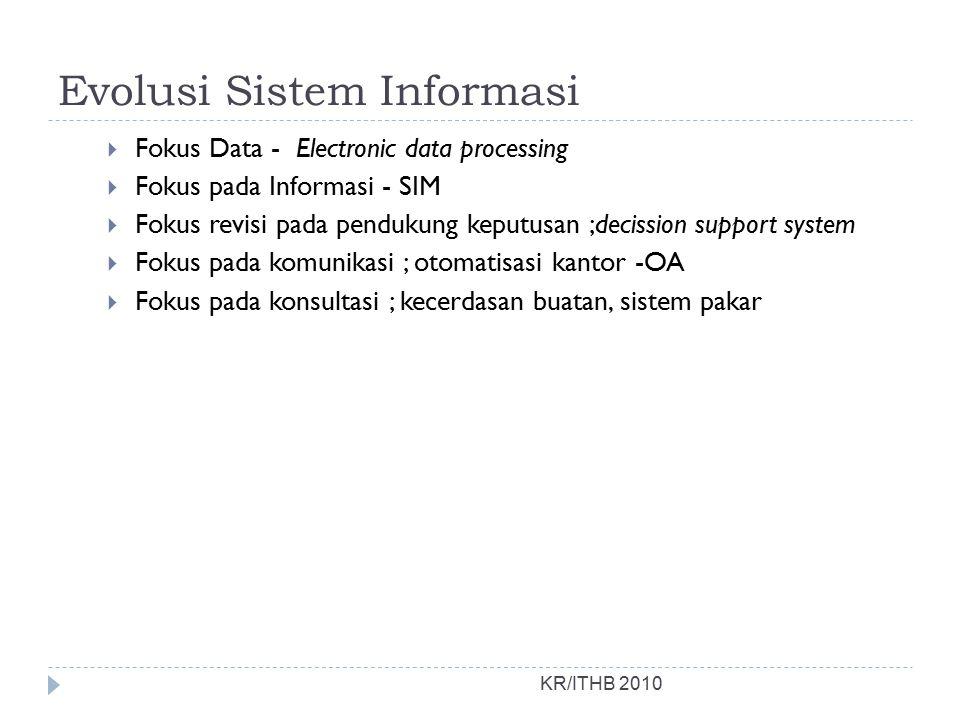 Evolusi Sistem Informasi KR/ITHB 2010  Fokus Data - Electronic data processing  Fokus pada Informasi - SIM  Fokus revisi pada pendukung keputusan ;decission support system  Fokus pada komunikasi ; otomatisasi kantor -OA  Fokus pada konsultasi ; kecerdasan buatan, sistem pakar