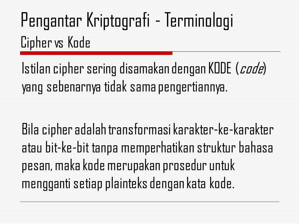Istilan cipher sering disamakan dengan KODE (code) yang sebenarnya tidak sama pengertiannya.