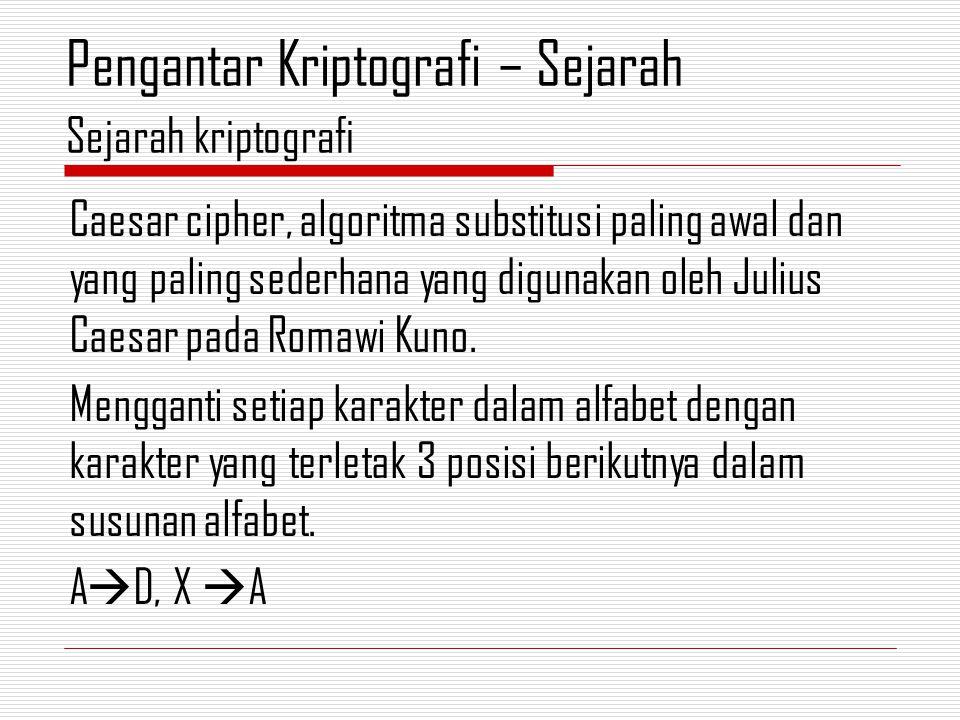 Caesar cipher, algoritma substitusi paling awal dan yang paling sederhana yang digunakan oleh Julius Caesar pada Romawi Kuno.