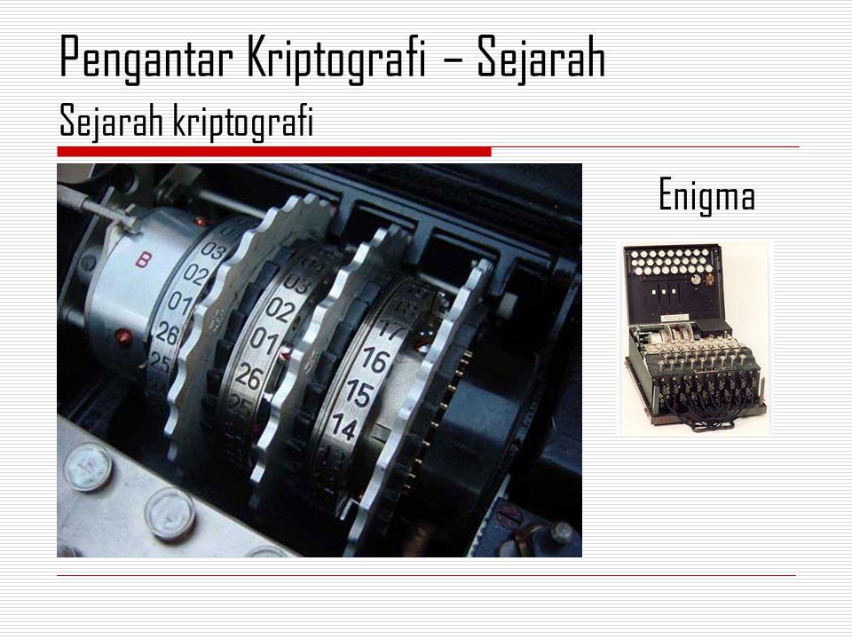 Enigma Sejarah kriptografi Pengantar Kriptografi – Sejarah