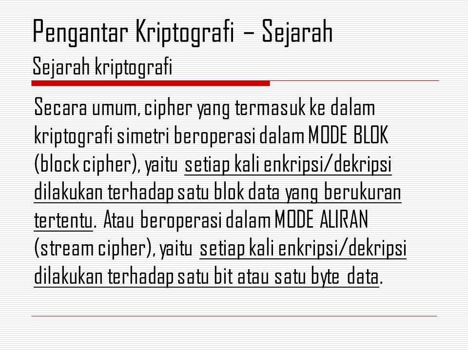 Secara umum, cipher yang termasuk ke dalam kriptografi simetri beroperasi dalam MODE BLOK (block cipher), yaitu setiap kali enkripsi/dekripsi dilakukan terhadap satu blok data yang berukuran tertentu.