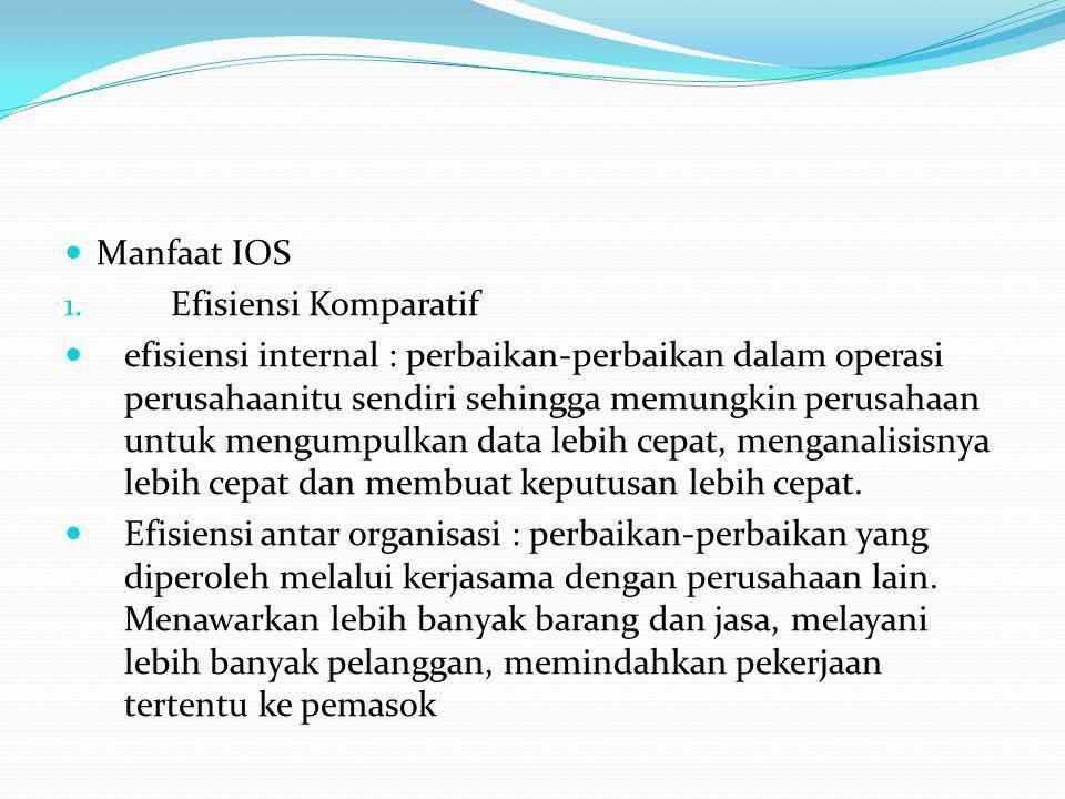 Manfaat IOS 1. Efisiensi Komparatif efisiensi internal : perbaikan-perbaikan dalam operasi perusahaanitu sendiri sehingga memungkin perusahaan untuk m