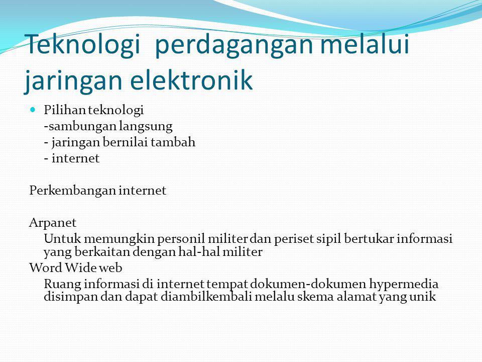 Teknologi perdagangan melalui jaringan elektronik Pilihan teknologi -sambungan langsung - jaringan bernilai tambah - internet Perkembangan internet Ar