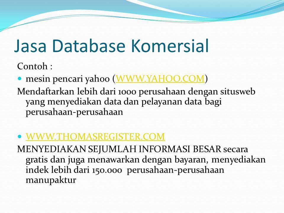 Jasa Database Komersial Contoh : mesin pencari yahoo (WWW.YAHOO.COM)WWW.YAHOO.COM Mendaftarkan lebih dari 1000 perusahaan dengan situsweb yang menyedi