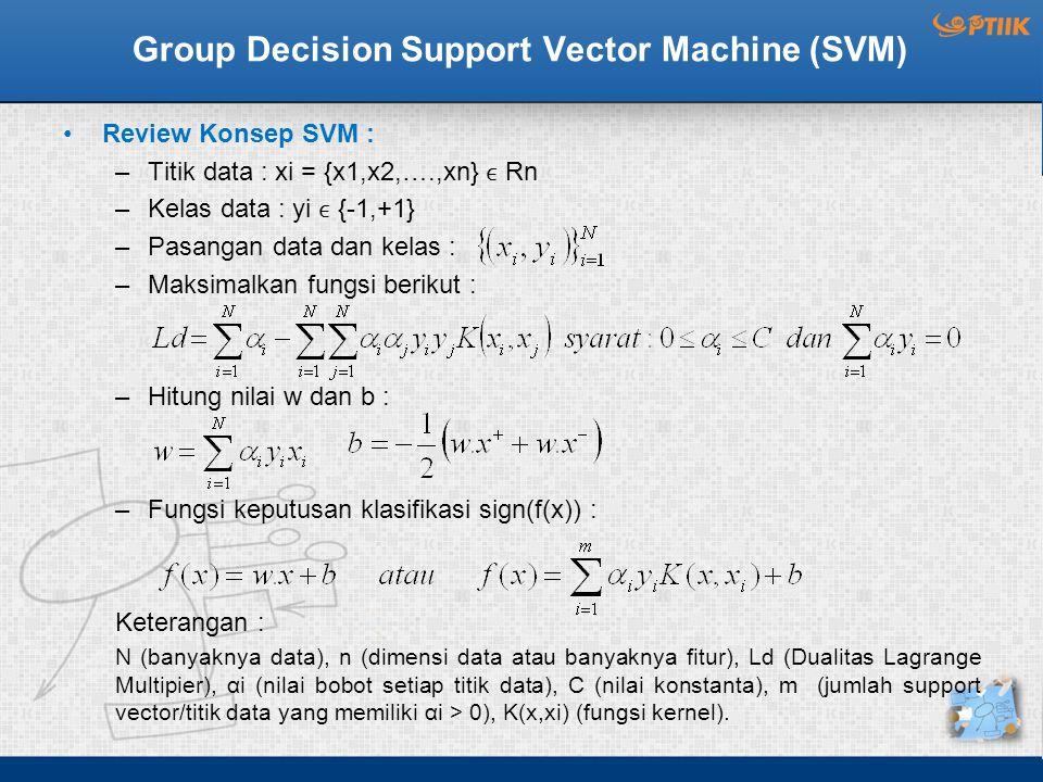 Group Decision Support Vector Machine (SVM) Review Konsep SVM : –Titik data : xi = {x1,x2,….,xn} Rn –Kelas data : yi {-1,+1} –Pasangan data dan kelas