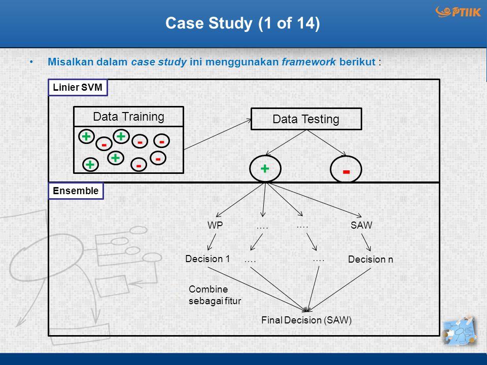 Case Study (1 of 14) Misalkan dalam case study ini menggunakan framework berikut : Linier SVM Data Testing + - Data Training + - - + +- - - + WP….SAW Decision 1….