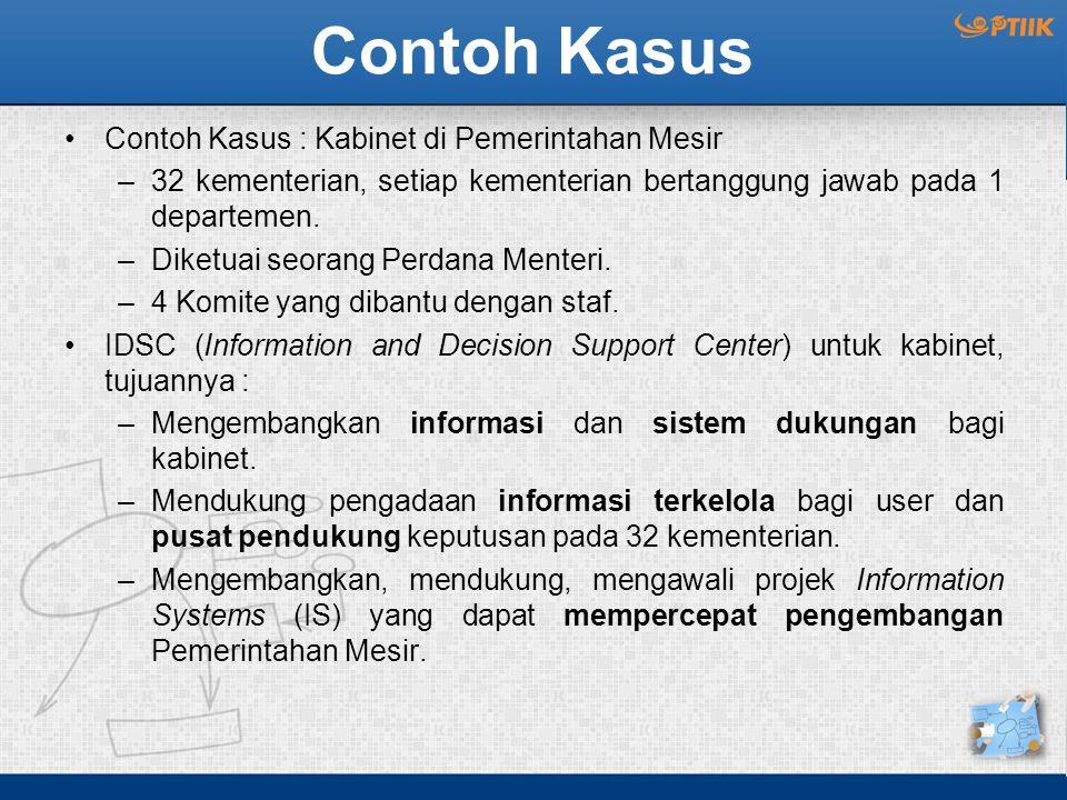 Konsep Organizational DSS (ODSS) Karakteristik ODSS : –Fokus pada tugas/ aktifitas/ keputusan organisasional/ masalah perusahaan.