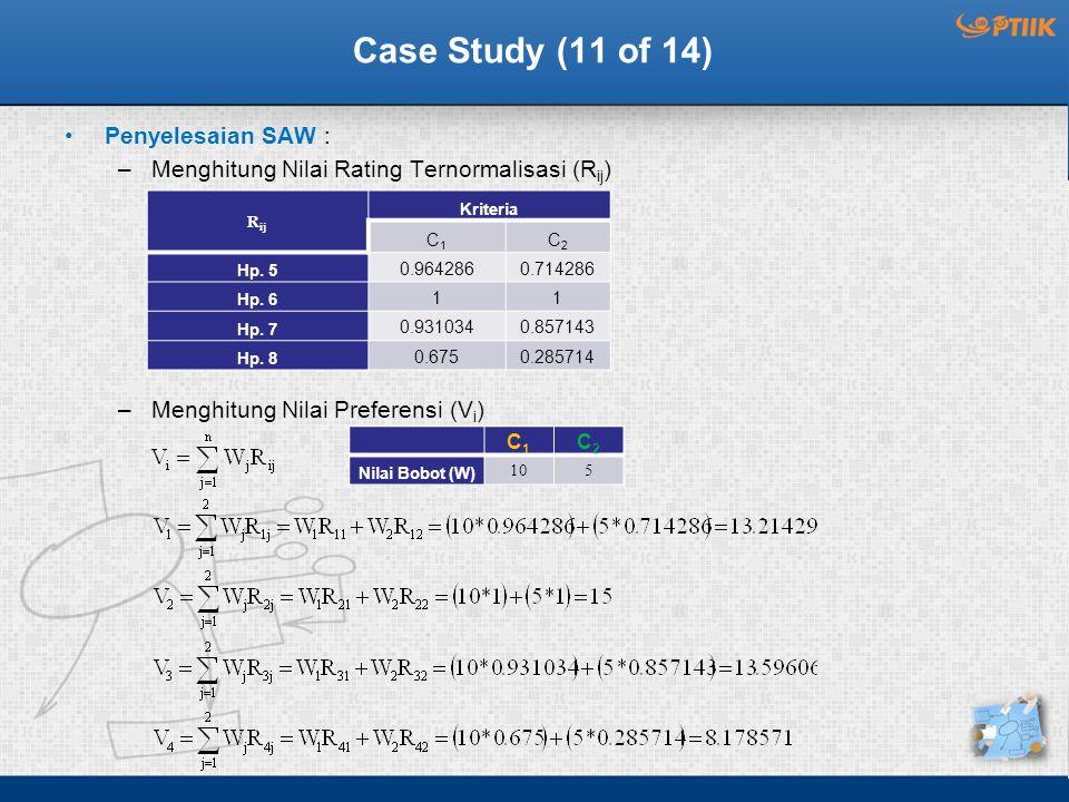 Case Study (11 of 14) Penyelesaian SAW : –Menghitung Nilai Rating Ternormalisasi (R ij ) –Menghitung Nilai Preferensi (V i ) R ij Kriteria C1C1 C2C2 Hp.