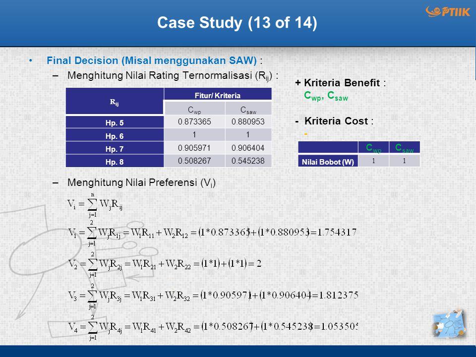 Case Study (13 of 14) Final Decision (Misal menggunakan SAW) : –Menghitung Nilai Rating Ternormalisasi (R ij ) : –Menghitung Nilai Preferensi (V i ) R ij Fitur/ Kriteria C wp C saw Hp.