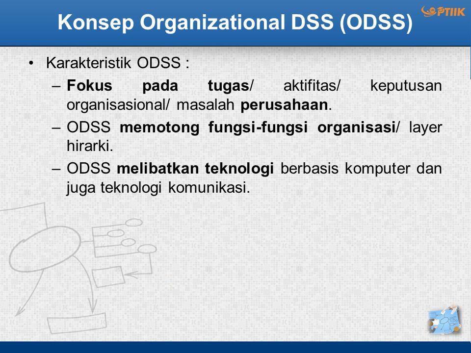 Konsep Organizational DSS (ODSS) Karakteristik ODSS : –Fokus pada tugas/ aktifitas/ keputusan organisasional/ masalah perusahaan. –ODSS memotong fungs