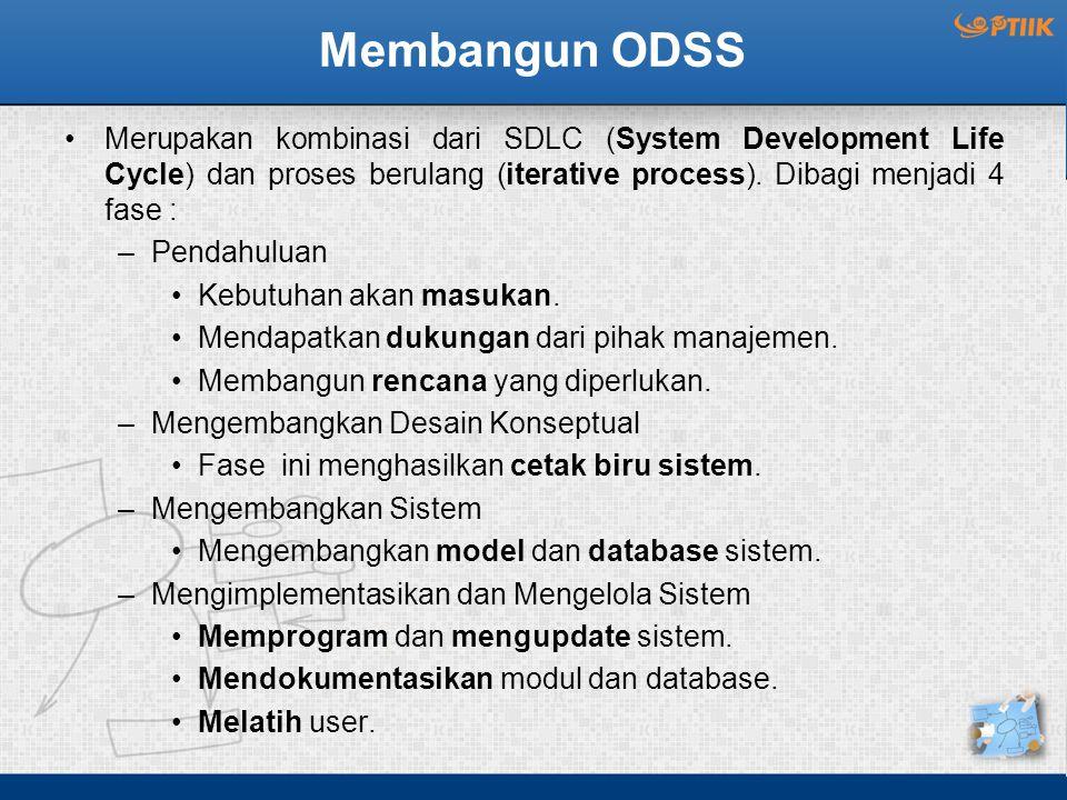 Membangun ODSS Merupakan kombinasi dari SDLC (System Development Life Cycle) dan proses berulang (iterative process). Dibagi menjadi 4 fase : –Pendahu