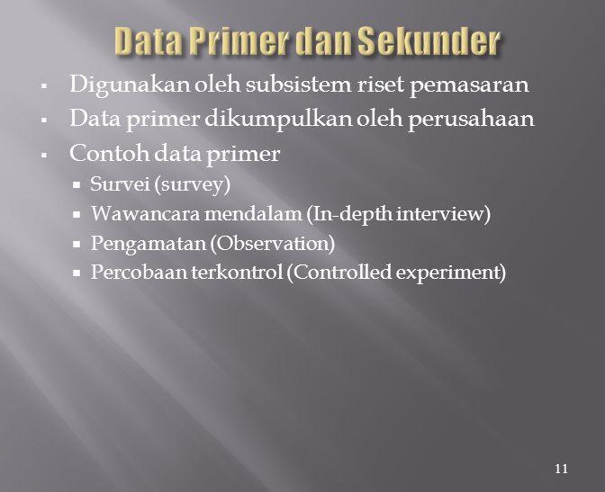  Digunakan oleh subsistem riset pemasaran  Data primer dikumpulkan oleh perusahaan  Contoh data primer  Survei (survey)  Wawancara mendalam (In-depth interview)  Pengamatan (Observation)  Percobaan terkontrol (Controlled experiment) 11