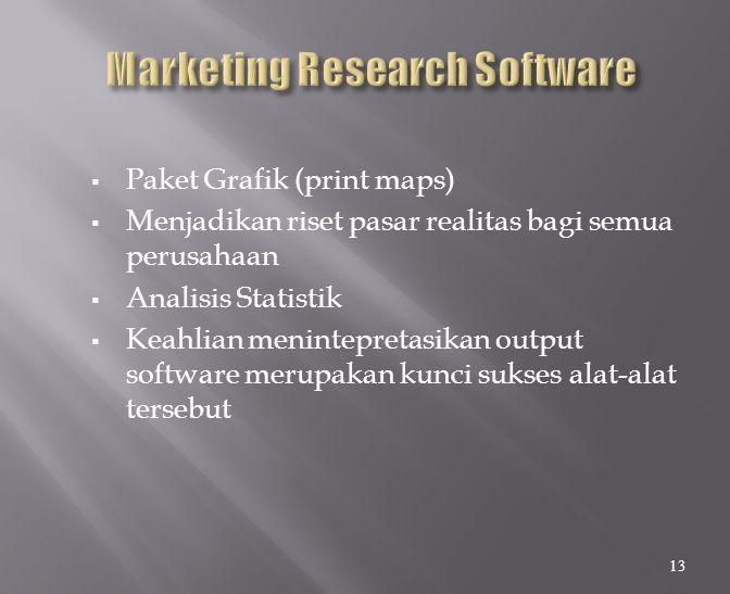  Paket Grafik (print maps)  Menjadikan riset pasar realitas bagi semua perusahaan  Analisis Statistik  Keahlian menintepretasikan output software merupakan kunci sukses alat-alat tersebut 13