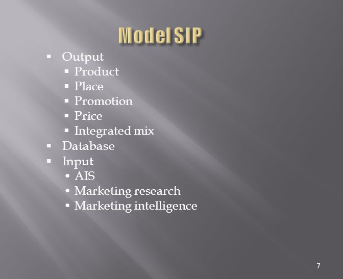  Output  Product  Place  Promotion  Price  Integrated mix  Database  Input AIS Marketing research Marketing intelligence 7