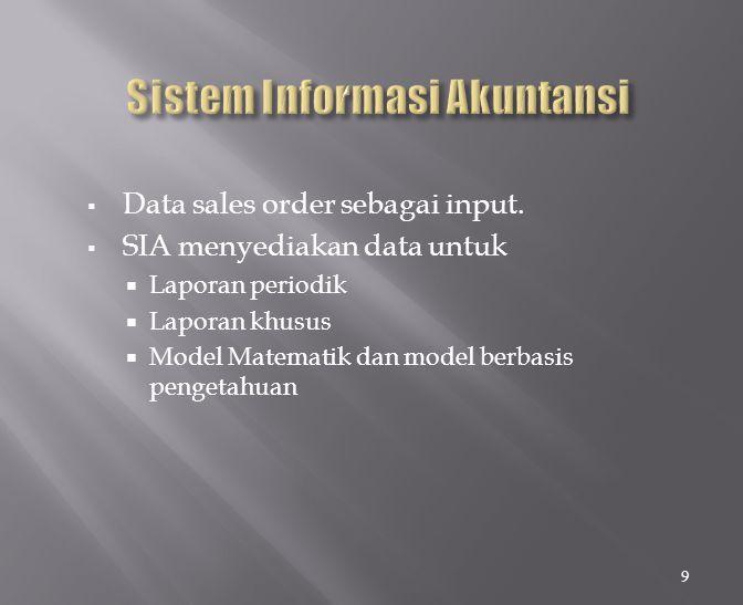  Data sales order sebagai input.  SIA menyediakan data untuk  Laporan periodik  Laporan khusus  Model Matematik dan model berbasis pengetahuan 9