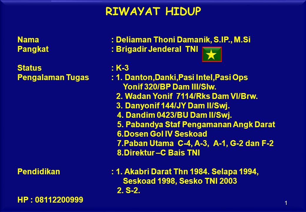 RIWAYAT HIDUP Nama: Deliaman Thoni Damanik, S.IP., M.Si Pangkat: Brigadir Jenderal TNI Status: K-3 Pengalaman Tugas: 1. Danton,Danki,Pasi Intel,Pasi O