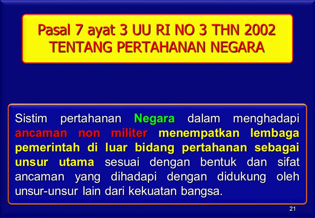 Pasal 7 ayat 3 UU RI NO 3 THN 2002 TENTANG PERTAHANAN NEGARA Sistim pertahanan Negara dalam menghadapi ancaman non militer menempatkan lembaga pemerin