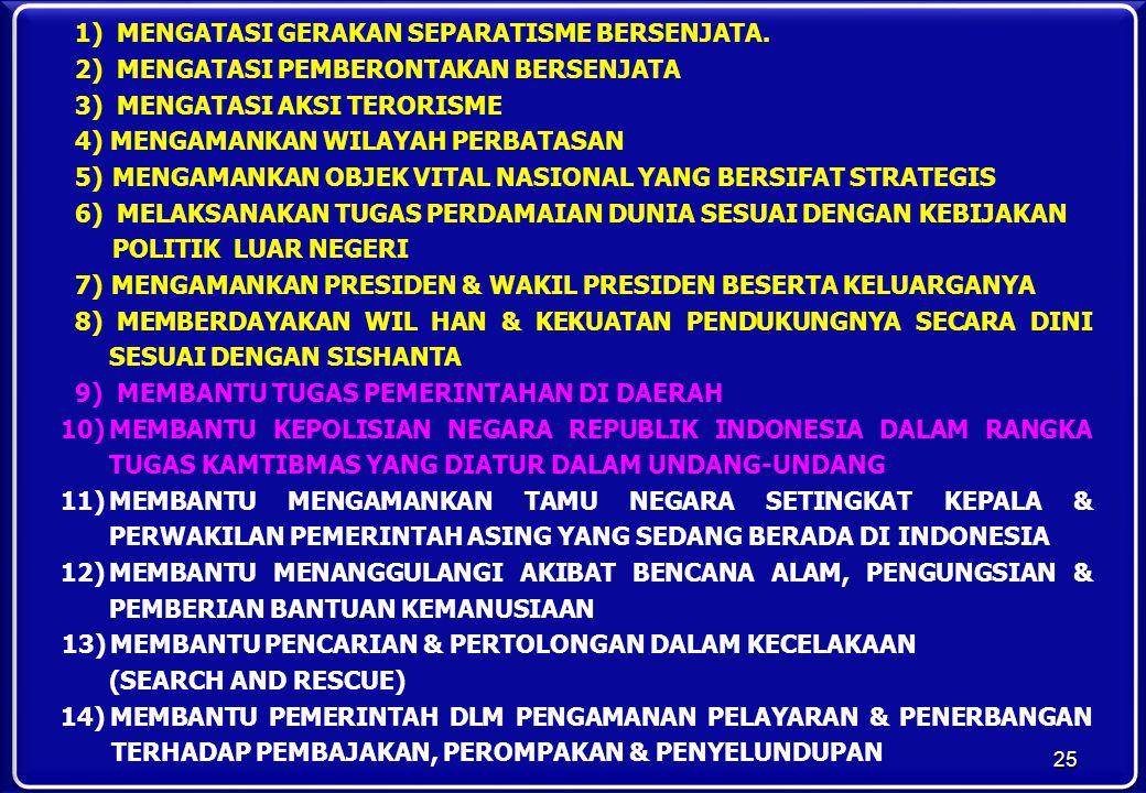 1) MENGATASI GERAKAN SEPARATISME BERSENJATA. 2) MENGATASI PEMBERONTAKAN BERSENJATA 3) MENGATASI AKSI TERORISME 4)MENGAMANKAN WILAYAH PERBATASAN 5) MEN