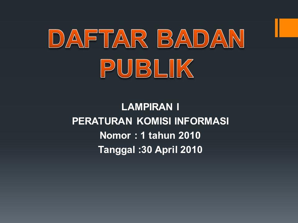LAMPIRAN I PERATURAN KOMISI INFORMASI Nomor : 1 tahun 2010 Tanggal :30 April 2010