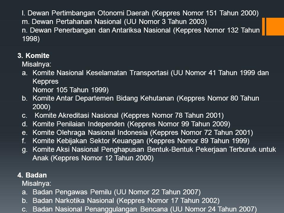 l. Dewan Pertimbangan Otonomi Daerah (Keppres Nomor 151 Tahun 2000) m. Dewan Pertahanan Nasional (UU Nomor 3 Tahun 2003) n. Dewan Penerbangan dan Anta