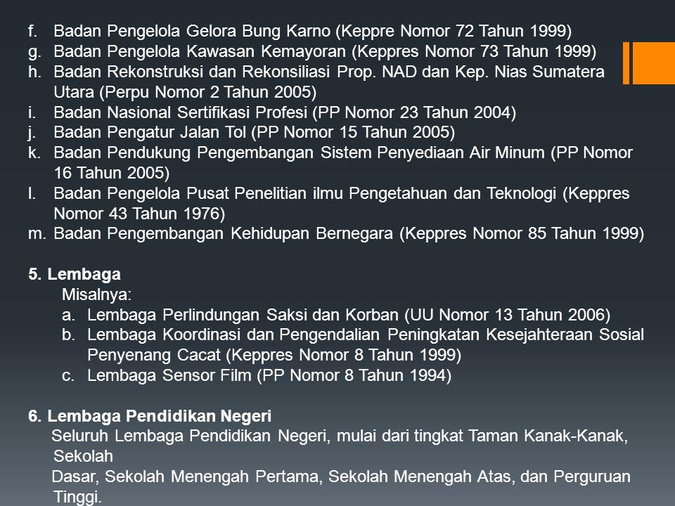 f.Badan Pengelola Gelora Bung Karno (Keppre Nomor 72 Tahun 1999) g.Badan Pengelola Kawasan Kemayoran (Keppres Nomor 73 Tahun 1999) h.Badan Rekonstruks