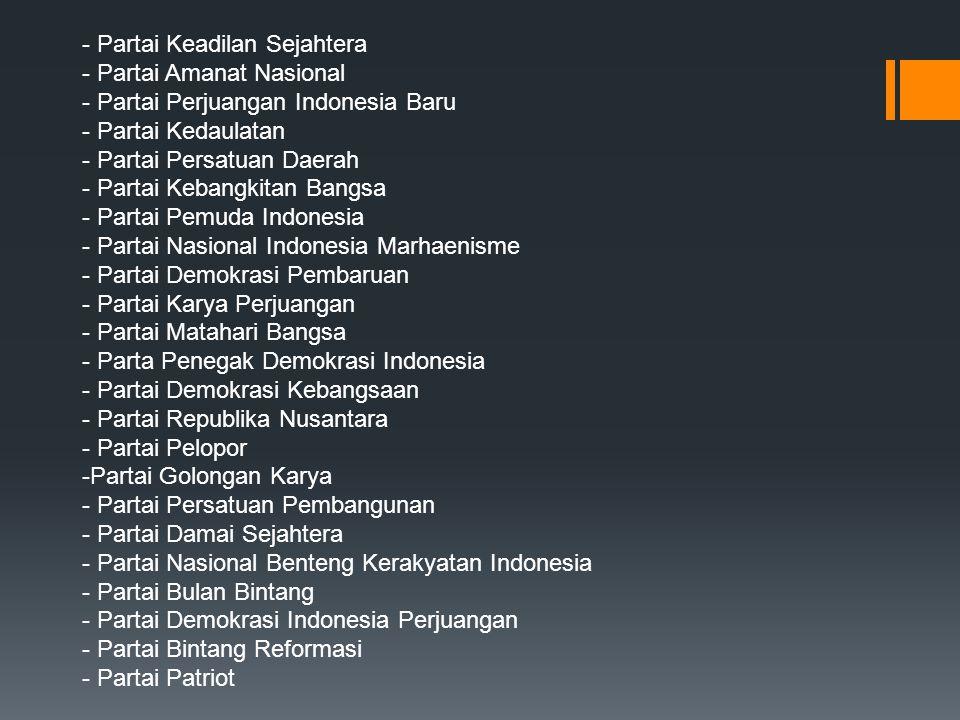 - Partai Keadilan Sejahtera - Partai Amanat Nasional - Partai Perjuangan Indonesia Baru - Partai Kedaulatan - Partai Persatuan Daerah - Partai Kebangk