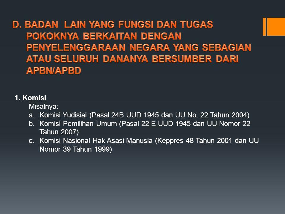 d.Komisi Pengawas Persaingan Usaha (UU Nomor 5 Tahun 1999) e.Komisi Penyiaran Indonesia (UU Nomor 32 Tahun 2002) f.Komisi Pemberantasan Tindak Pidana Korupsi (UU Nomor 30 Tahun 2002) g.Komisi Perlindungan Anak (UU Nomor 23 Tahun 2002) h.Komisi Informasi (UU Nomor 14 Tahun 2008) i.Komisi Hukum Nasional (Keppres Nomor 15 Tahun 2000) j.Komisi Kepolisian (UU Nomor 2 Tahun 2002) k.Komisi Kejaksaan (UU Nomor 16 Tahun 2004 dan Perpres Nomor 18 Tahun 2005) l.Komisi Nasional Anti Kekerasan Terhadap Perempuan (Keppres Nomor 181 Tahun 1998 dan Perpres Nomor 65 Tahun 2005) 2.