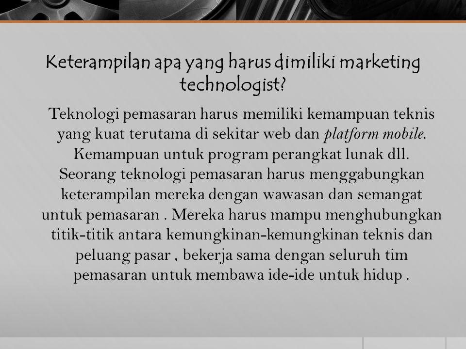 3 Spheres Teknologi Pemasaran 1.Teknologi Internal Apa yang kita gunakan untuk mengelola dan menganalisis operasi pemasaran, seperti analisis, SEO audit, intelijen kompetitif, dan pemantauan media sosial 2.Teknologi Eksternal Meliputi platform yang kita gunakan untuk menjangkau khalayak dan menyampaikan konten -.