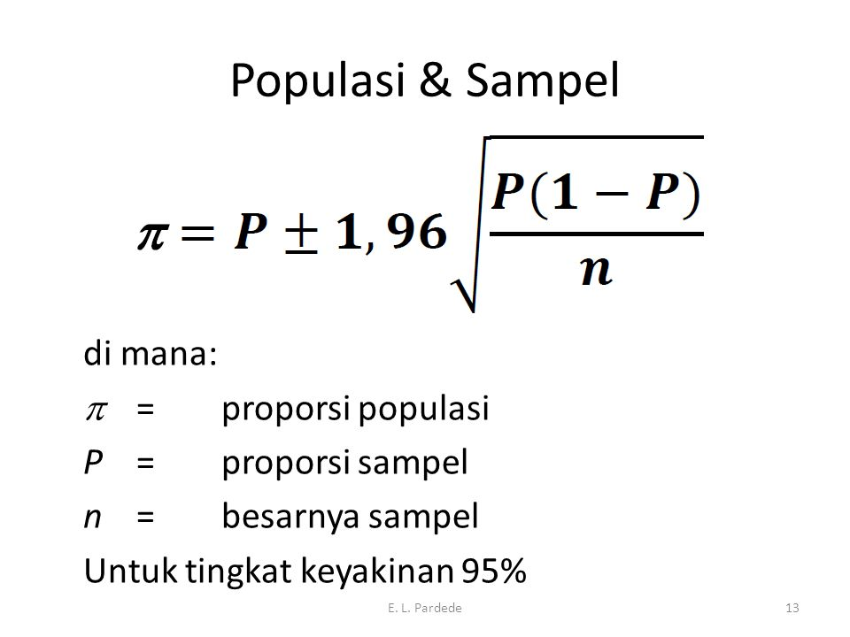 Populasi & Sampel 05/09/2012 E. L. Pardede13 di mana:  = proporsi populasi P = proporsi sampel n = besarnya sampel Untuk tingkat keyakinan 95%
