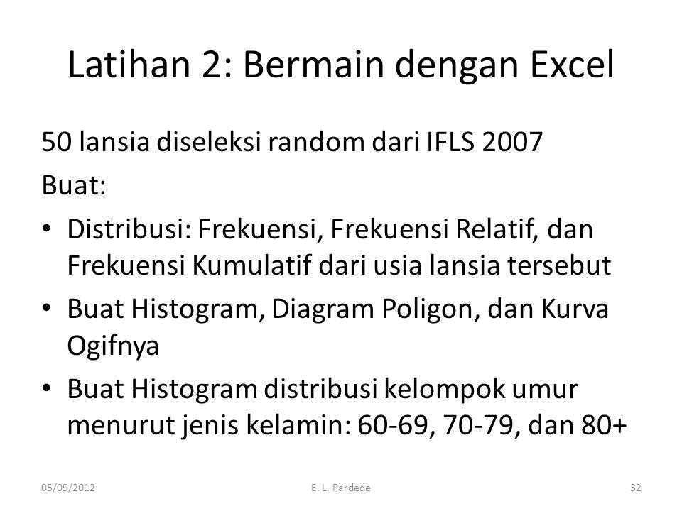 Latihan 2: Bermain dengan Excel 50 lansia diseleksi random dari IFLS 2007 Buat: Distribusi: Frekuensi, Frekuensi Relatif, dan Frekuensi Kumulatif dari