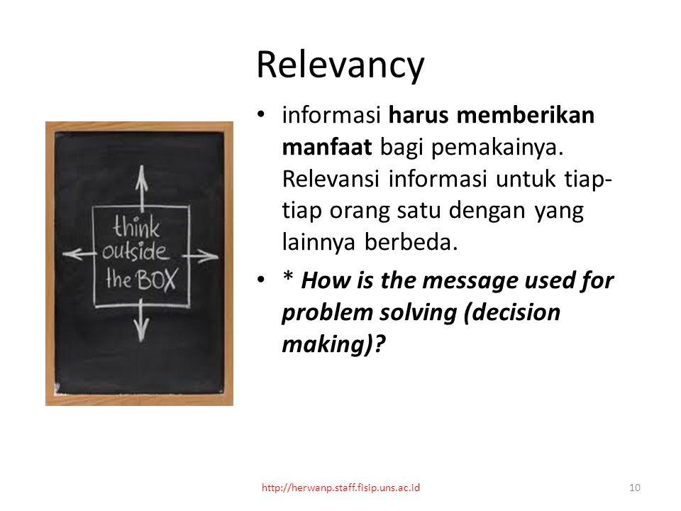 Relevancy informasi harus memberikan manfaat bagi pemakainya.