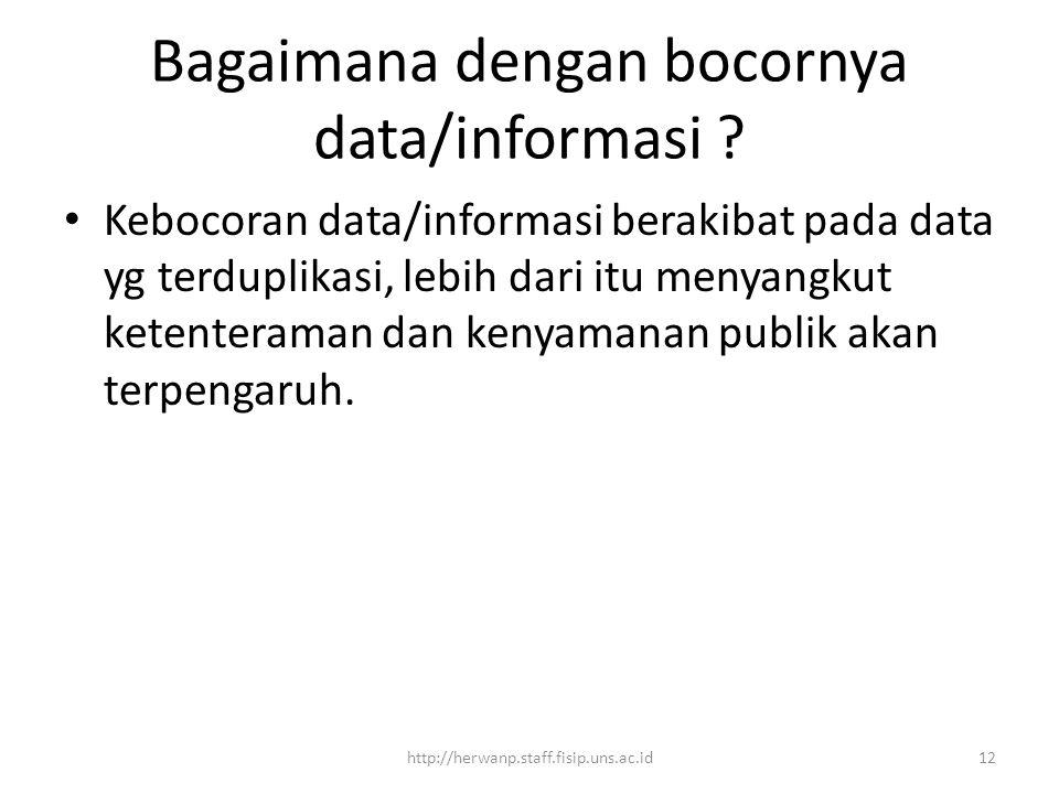 Bagaimana dengan bocornya data/informasi .