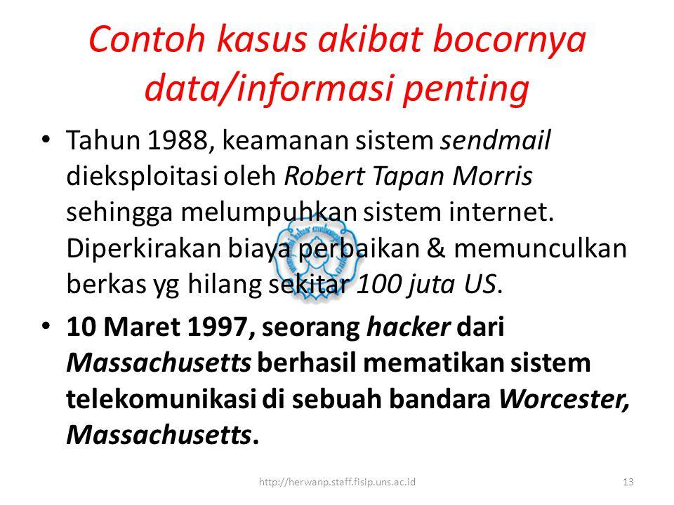 Contoh kasus akibat bocornya data/informasi penting Tahun 1988, keamanan sistem sendmail dieksploitasi oleh Robert Tapan Morris sehingga melumpuhkan sistem internet.