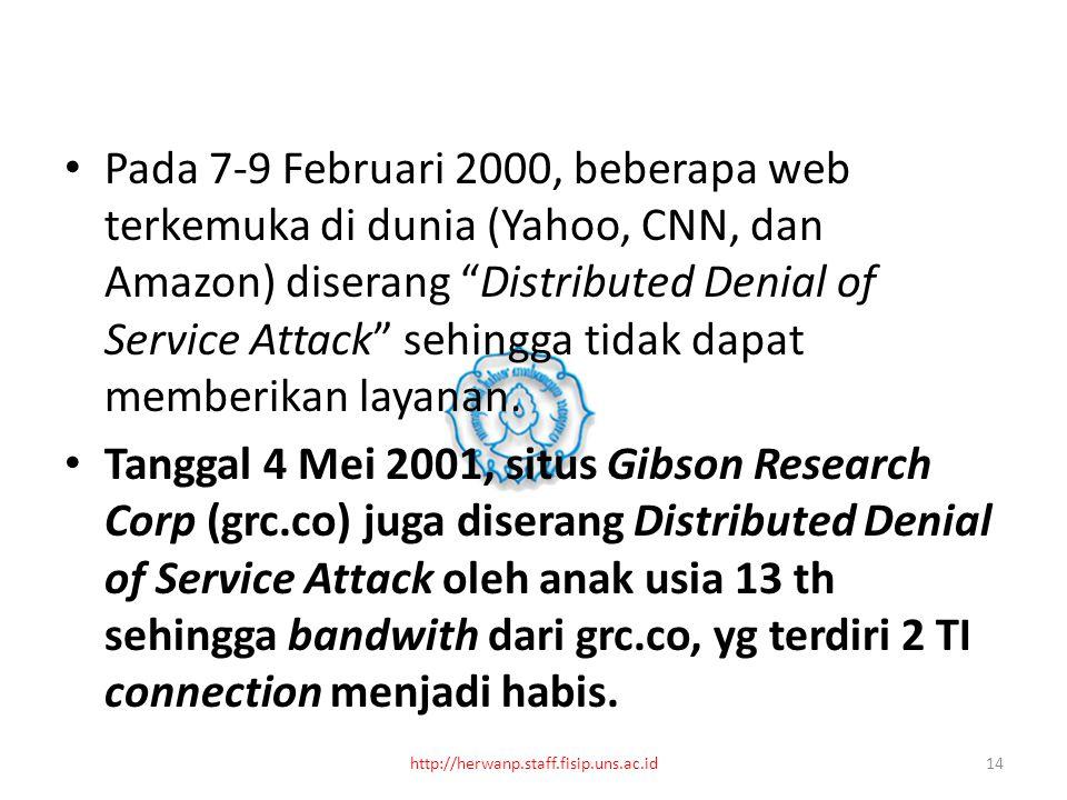 Pada 7-9 Februari 2000, beberapa web terkemuka di dunia (Yahoo, CNN, dan Amazon) diserang Distributed Denial of Service Attack sehingga tidak dapat memberikan layanan.