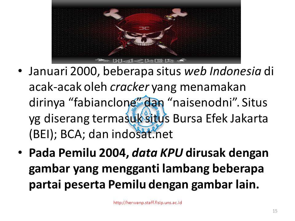 Januari 2000, beberapa situs web Indonesia di acak-acak oleh cracker yang menamakan dirinya fabianclone dan naisenodni .