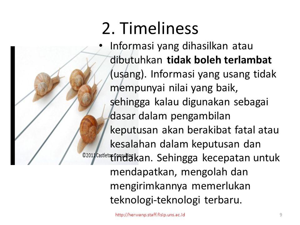 2. Timeliness Informasi yang dihasilkan atau dibutuhkan tidak boleh terlambat (usang).