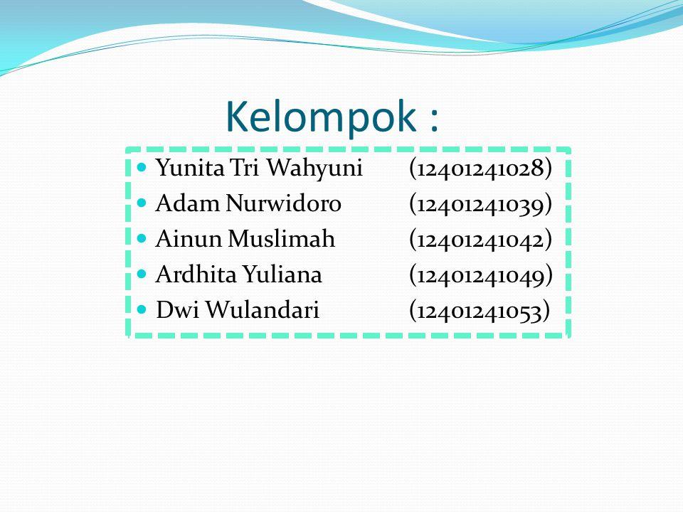Kelompok : Yunita Tri Wahyuni(12401241028) Adam Nurwidoro(12401241039) Ainun Muslimah(12401241042) Ardhita Yuliana (12401241049) Dwi Wulandari(12401241053)