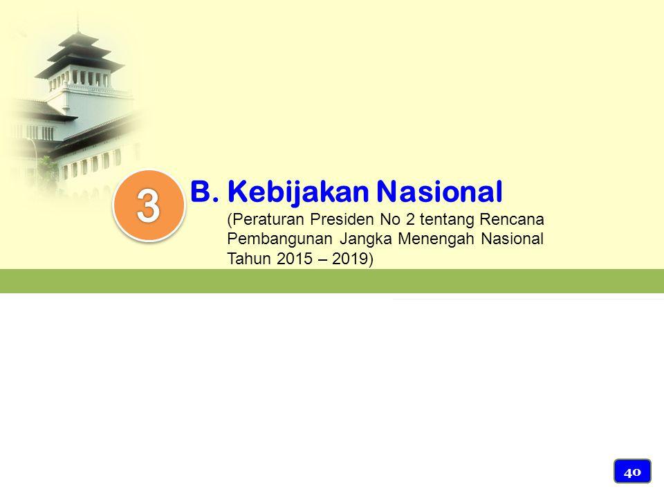 B.Kebijakan Nasional (Peraturan Presiden No 2 tentang Rencana Pembangunan Jangka Menengah Nasional Tahun 2015 – 2019) 40