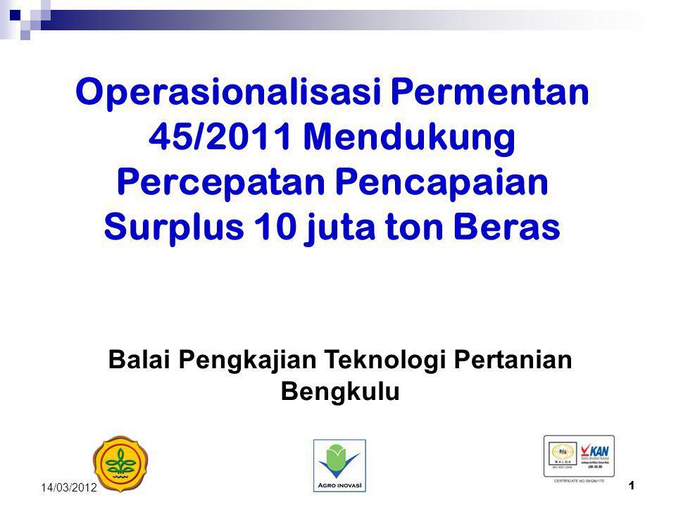 1 14/03/2012 Operasionalisasi Permentan 45/2011 Mendukung Percepatan Pencapaian Surplus 10 juta ton Beras Balai Pengkajian Teknologi Pertanian Bengkul