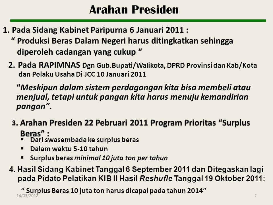 "1. Pada Sidang Kabinet Paripurna 6 Januari 2011 : "" Produksi Beras Dalam Negeri harus ditingkatkan sehingga diperoleh cadangan yang cukup "" 3. Arahan"