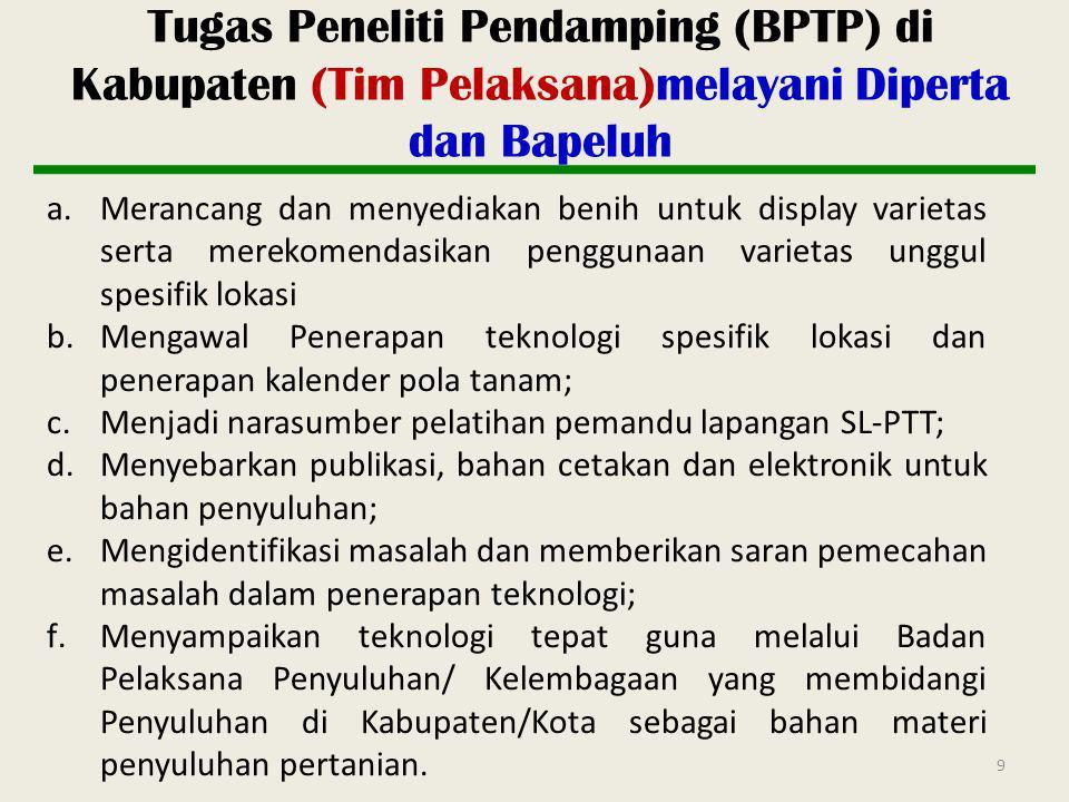 9 Tugas Peneliti Pendamping (BPTP) di Kabupaten (Tim Pelaksana)melayani Diperta dan Bapeluh a.Merancang dan menyediakan benih untuk display varietas s